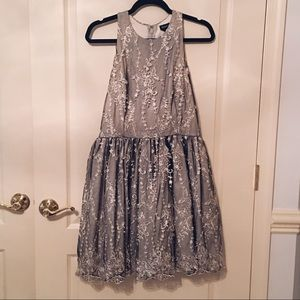 Bebe Sleeveless Silver Dress